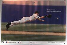 1996 DEREK JETER Drug-Free America POSTER New York Yankees Baseball Anti Turn 2