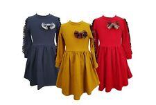 Girls Skater Long Sleeve Kids Party Casual Tartan Frill Sleeve Bow Dress 1-12 Yr