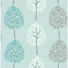 RIVA MOTIF TEAL WHITE GREY TREES LUXURY FEATURE WALLPAPER FINE DECOR FD41593