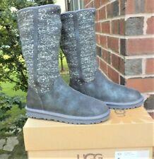 NEW UGG Camaya Mid-Calf Sweater Boots Metallic Gray Sequin Suede WOMEN'S SIZE 6