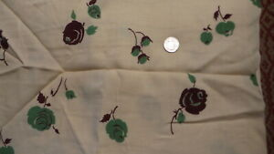 """Vintage Cotton Blend Fabric GREEN & BROWN ROSES ON DK CREAM   1 Yd/36"""""""