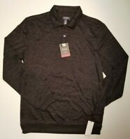 Van Heusen Men's Classic Fit Long Sleeve Black Heathered Flex Polo NWT MSRP $54
