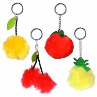 12 x Pom Pom Fruits Keyrings - Christmas Stocking Fillers / Party Bag Fillers