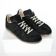 MAISON MARTIN MARGIELA 22 black trainers embossed velvet shoes sneakers 35 NEW
