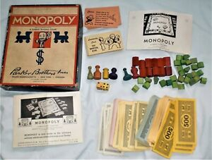 MONOPOLY 1935 ~ Antique Monopoly Game PARTS~ Money, Wood TOKENS Houses, Hotels