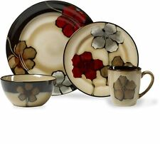 Painted Poppies Dinnerware Set 16 Piece (Service for 4) Dinner Stoneware Mug NEW