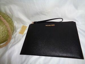 Michael Kors Jet Set Travel XL Zip Clutch Wristlet Clutch Black Leather Bag