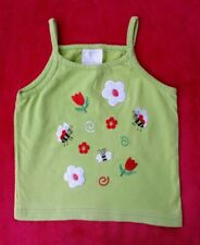 New Pea Green Embroidered Girls vest Top-Bee/Flower motif -age 4-6yrs