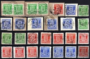 WW2 GERMAN OCCUPATION ISSUES: GUERNSEY 1941-4 USED SELECTION (27), SOME ON PIECE