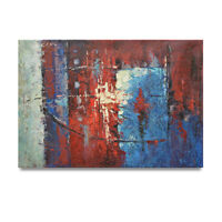 NY Art - Thick Red White & Blue Abstract 24x36 Original Oil Painting on Canvas
