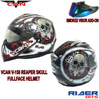 VCAN V158 FULL FACE HELMET REAPER BLACK RED ECE ACU APPROVED MOTORCYCLE SCOOTER