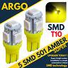 2X Super Hid 501 5 SMD LED Ampoules Plaque Immatriculation Ambre Xenon T10 W5W