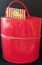 Vintage Hot Pink Vinyl Round Hat/ Wig Box with Handle VNT Greenbrier Hotel Tag