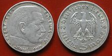 MONETA COIN GERMANIA GERMANY THIRD REICH 5 MARKS 1936+A HINDEMBURG SILBER SILVER
