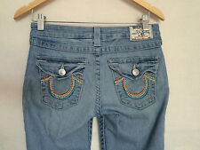 True Religion Jeans Sz 26 Hi-Rise Boot Rainbow Flap Pocket Faded Look Womens