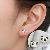 Cute  Panda Crystal Ear Studs Cartoon Images Stud Earrings Jewelry Xmas Gift