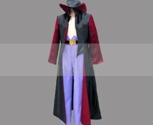 One Piece Cosplay Costume Dracule Mihawk Red Linning Black Coat!ZSD