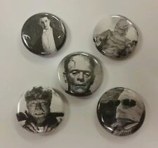"5 1"" Classic Monsters Dracula Frankenstein Wolfman Lugosi pinback badges buttons"
