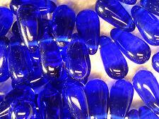 VTG 50 COBALT BLUE GLASS DROP BEADS CLASSIC STYLING 5X10mm #042312c