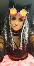 Womens cyber goth punk fancy dress costume cosplay raver goggles neon pink skirt