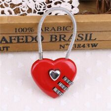 Travel Red Heart Shaped Password Lock Wires Ropes Resettable Combination Padlock