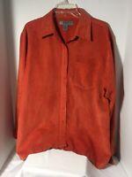 Chandler Hill Womens Top Button Front LS Burnt Orange Faux Suede Size XL