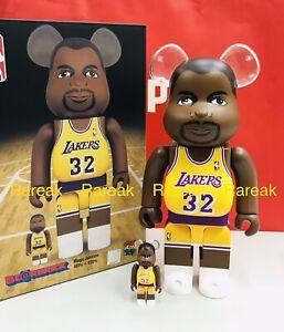 Medicom 400% + 100% Bearbrick NBA LA Magic Johnson Lakers Be@rbrick Boxset 2pcs