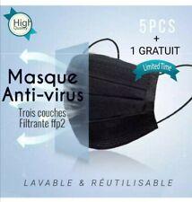 Masque de protection noir  3couches filtrantes renforcée 5pcs