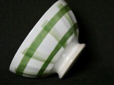 Ancien petit BOL sur piédouche faïence N.I blanc-cassé décor vert barrière No1