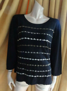 (391OCT) Size 20/22 XL *CC COUNTRY CASUALS* Black studded jumper ladies/women
