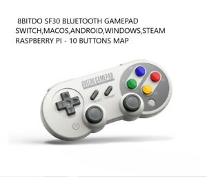8BITDO SF30 RETRO BLUETOOTH GAMEPAD , RUMBLE , USB C CHARGING , MOTION CTRL