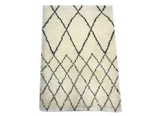2X3 Modern Ivory Moroccan Hand-Knotted Wool Area Rug Small Oriental Carpet