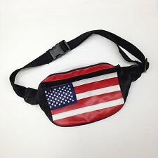 Genuine Real Leather USA FLAG Fanny Pack Waist Belt Travel Bag Made in India