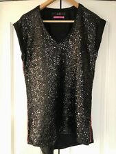 Oui, Luxury Edition, Sequin Front Top, In Black Size 12/38