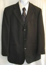 Men's Size L 44 Hardy Amies Dark Gray Tweed 3 Button Wool Sport Coat C5