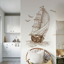 Hand Painted Sailboat Vinyl Decals Bedroom Living room Removable Wall Stickers
