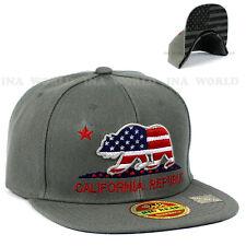 07c2e15f27a California Republic hat cap USA Flag BEAR Snapback Flat bill Baseball cap-  Gray