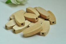 20pcs Natural Wood Bead Oval Rectangular Wooden Unfinished Craft Accessory Punk