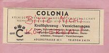 KÖLN, Werbung 1949, KFZ-Auto-Versicherung Colonia Kölnische Versicherungs-AG