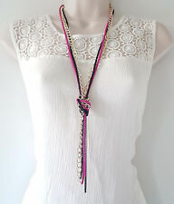 """Gorgeous 26"""" long gold - pink & black layered - knotted metal chain necklace"""