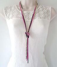 """Preciosa 26"""" largos de oro rosa y negro en capas-Anudada Collar Cadena de Metal"""