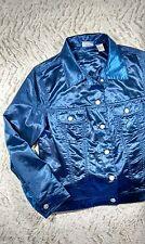 CHICO'S Blue Satin Cotton Blend Silver Button Women's Blazer, Sz 2 (14)