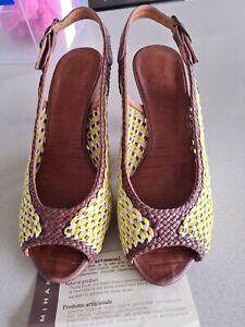 Chie Mihara Tan/Yellow/White Sandals