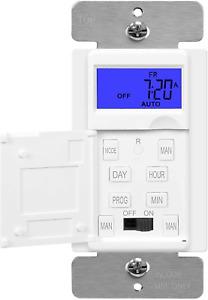 ENERLITES 7-Day Digital Programmable In Wall Timer Switch Back light LCD HET01