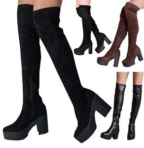 Over The Knee Cleated Sole Faux Suede Platform Boots Black Chunky Heel