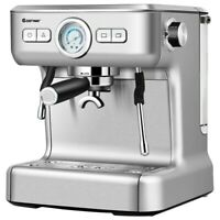 15 Bar Pump Cappuccino Espresso Latte Machine Barista Milk Frother Steam Silver