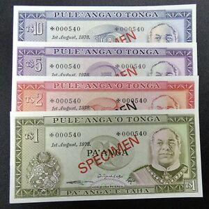 1978 Tonga Collector Series Specimen Set 4 Notes UNC Condition-bmp