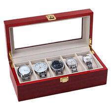 5 Slot Wood Watch Display Case Box Glass Top Jewelry Storage Organizer Men Gift