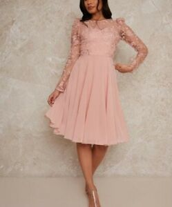 CHI CHI Dorothee Dress Pink Womens Size UK 12 *REF173