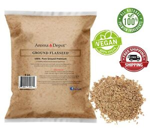 5lb GROUND Brown Flax Seed Omega-3 Non-GMO Linaza Raw 80 oz. Flaxseed POWDER
